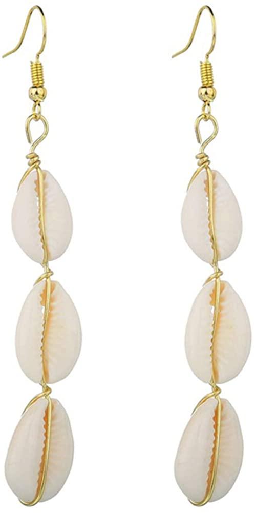 Fashion Ear Jewelry For Girls Women,Bohemian Women Cowrie Shell Pendant Long Drop Hook Earrings Beach Jewelry Gift - E534