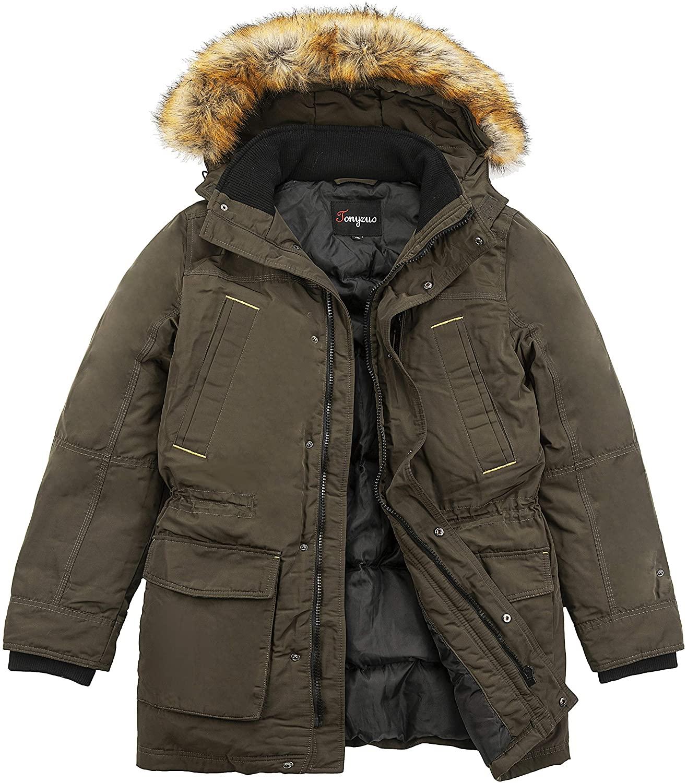 Tonyzuo Mens Down Puffer Jacket Windproof Coat 600 Power Multi Pocket