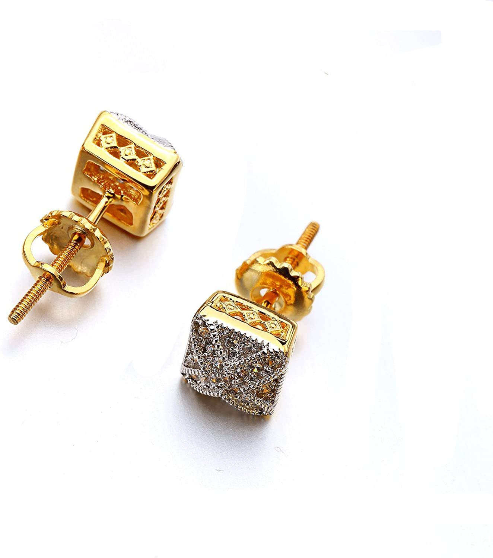 VANAXIN Square Cross Stud Earrings Clear Cubic Zirconia Punk Hip Hop Gold Platinum Plated Men Women