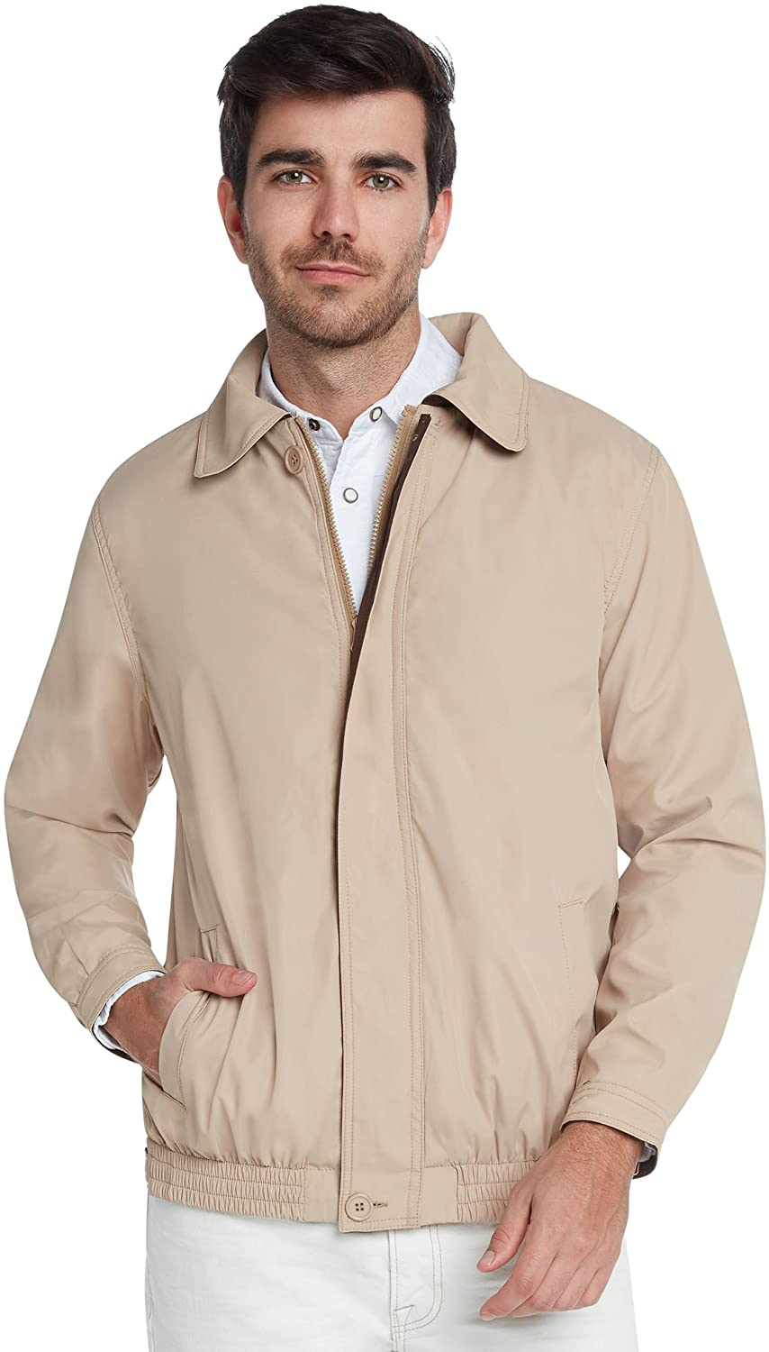 9 Crowns Men's Water Resistant Lightweight Paneled Harrington Jacket