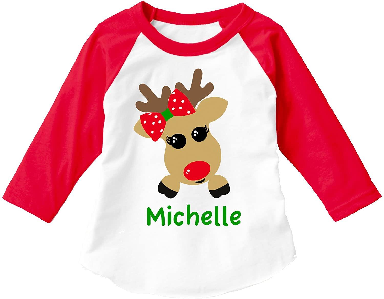 MiMa | Apparel Personalized Reindeer Girl Christmas Shirt ADD A Name Child 3/4 Sleeve Raglan