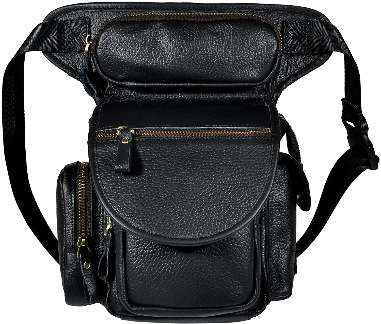 Le'aokuu Mens Genuine Leather Climbing Cycling Belt Waist Bag Hip Bum Fanny Pack Drop Leg Bag 3110 (G1013 T-Black)