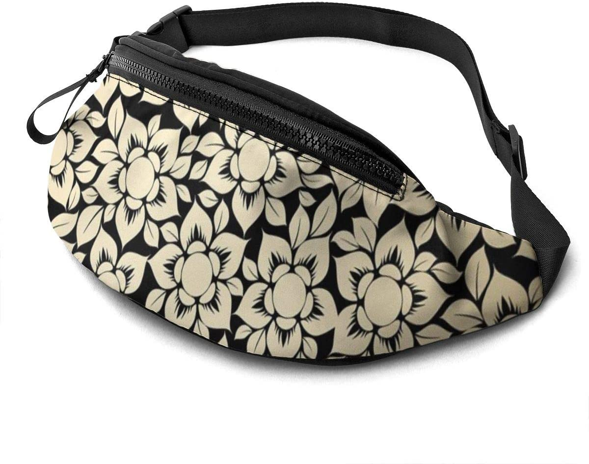 Floral Pattern Printing Fanny Pack For Men Women Waist Pack Bag With Headphone Jack And Zipper Pockets Adjustable Straps