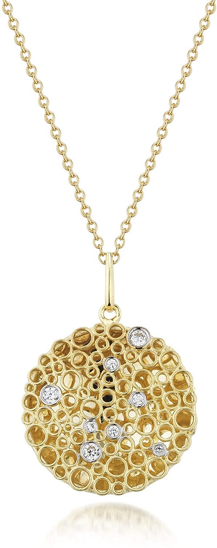14K Yellow Gold 0.16ct TDW Round-cut White Diamond Round Honeycomb Pendant Necklace
