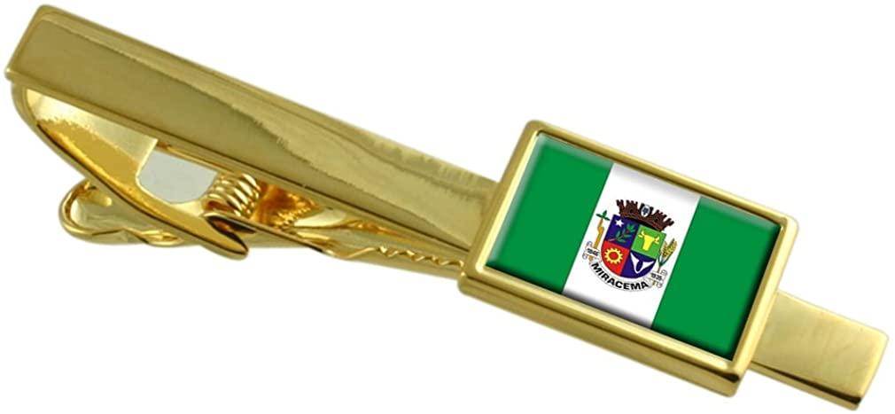 Select Gifts Miracema City Rio de Janeiro State Flag Gold-Tone Tie Clip