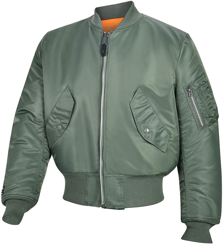 Valley Apparel LLC Made in USA Men's MA-1 Nylon Flight Jacket, Sage Green, XXS