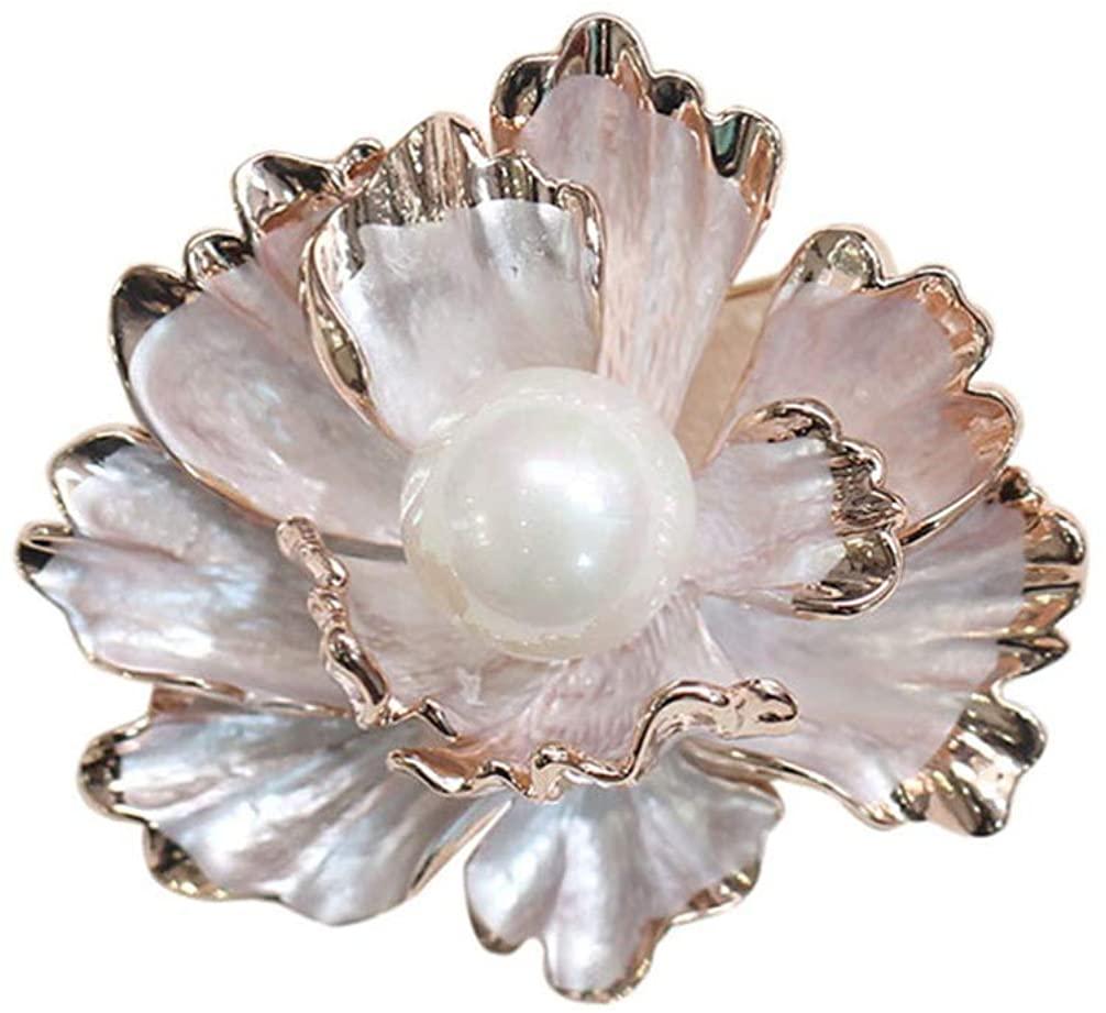 Holibanna Flower Brooch Pearl Brooch Peony Shape Brooch Pin Elegent Breastpin for Girl Woman Lady Gold