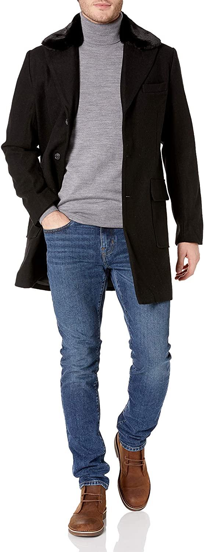 Sean John Men's Textured Wool Coat with Faux-Fur Collar