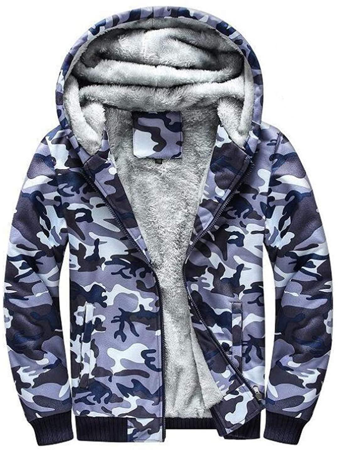 D.B.M Men's Winter Plus Velvet Padded Zipper Hooded Warm Sweater Jacket