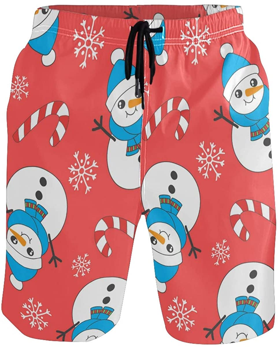 Men's Swim Trunks Beach Shorts Snowman Cute Funny Quick Dry Shorts Mens Swim Trunks Short
