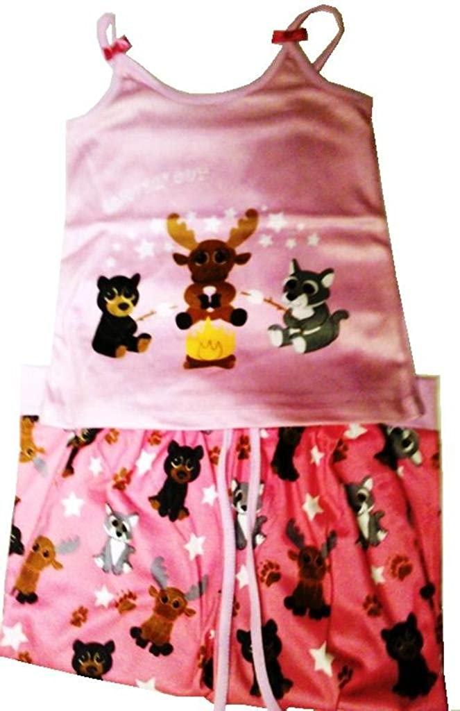 The Petting Zoo Youth Girls S Bright Eyes Camping Pajamas Pink
