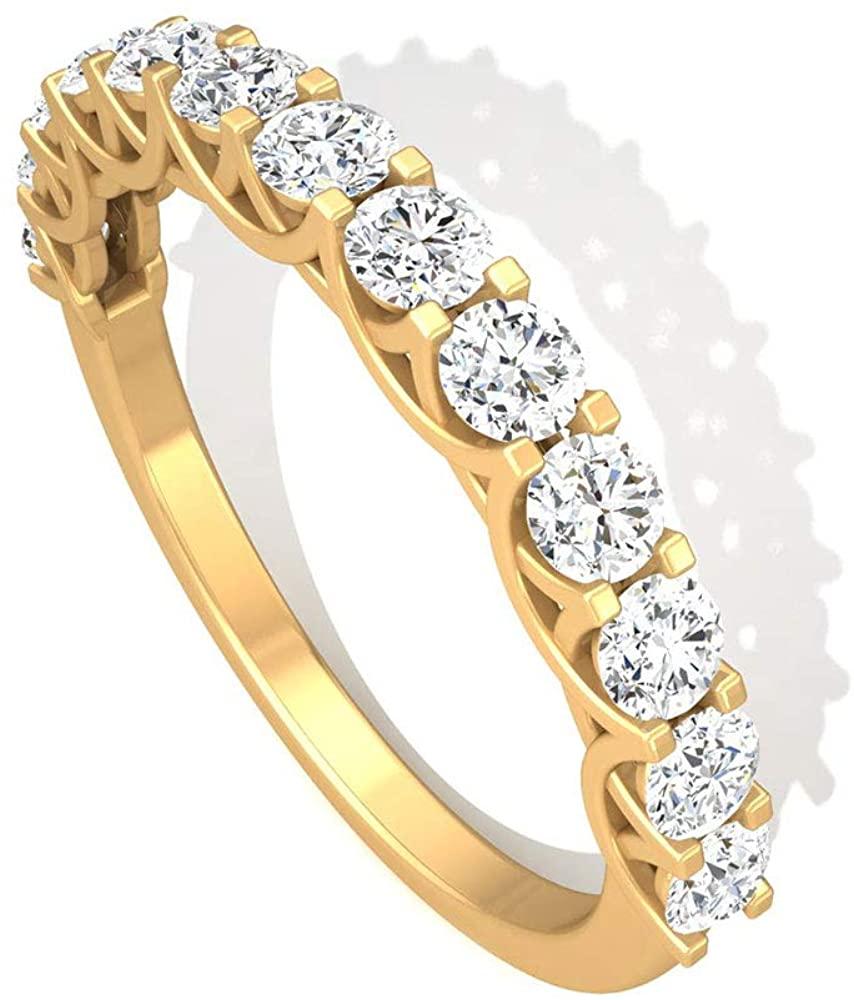 0.85 CT Prong Set IGI Certified Diamond Anniversary Ring, IJ-SI Color Clarity Diamond Wedding Bridal Ring Set, Minimal Stacking Birthday Promise Rings, 14K Yellow Gold, Size:US 7.5