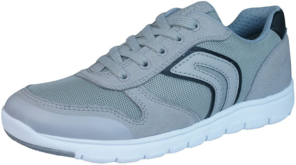 Geox J Xunday H Grey Suede Junior Trainers Shoes