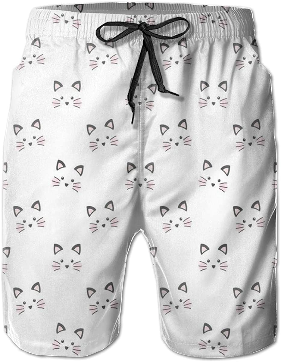 Men's Swim Trunks Quick Dry Beach Shorts Sketching of A Blushing Cat Face Features Cartoon Style Hand Drawn Cat Whiskers XL