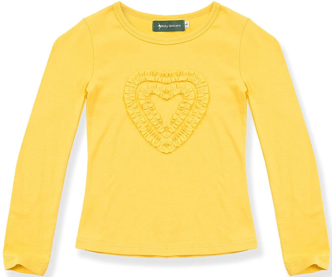 Girls Ruffle Love Heart Long Sleeve Tee Shirts Top