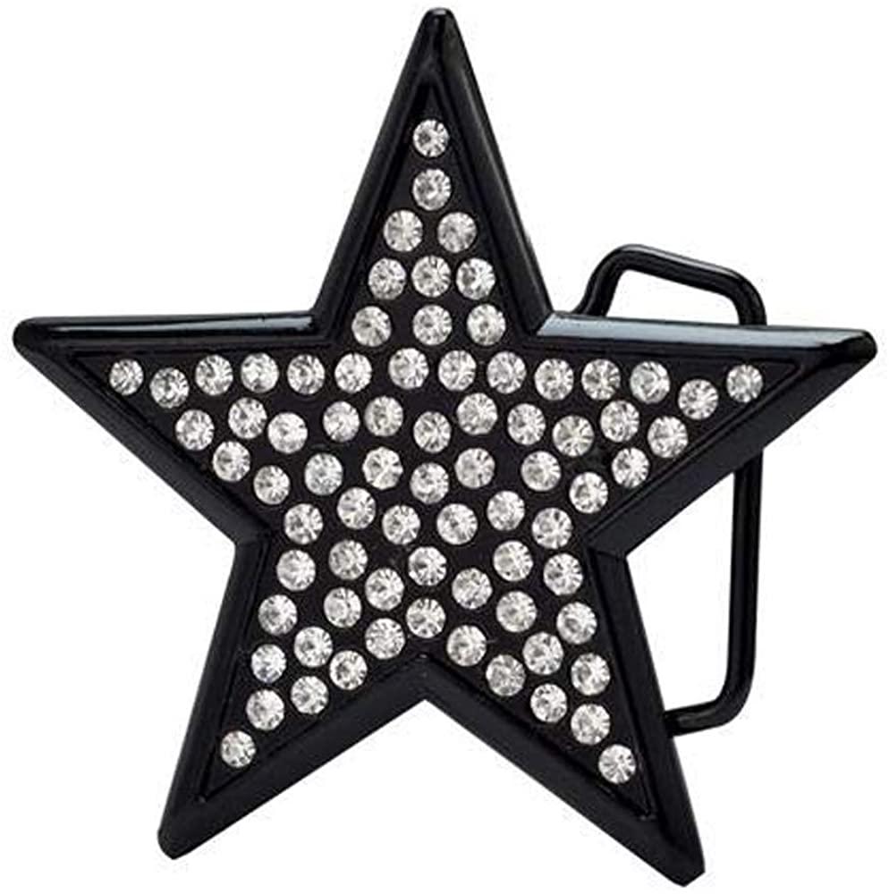 Women's Rhinestone Jeweled Star Belt Buckle Black - Western Belt Buckle Fits Belts Up to 1.5 Inches Wide