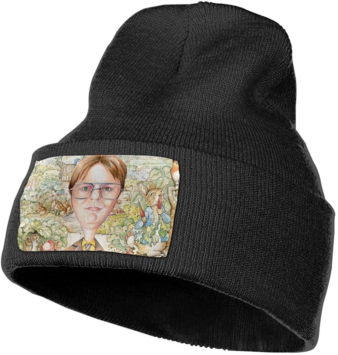 DWI-GHT SCH-ru-te Unisex Fall Winter Warm Knit Cap Beanie Hat Stretchy Ski Cap, 18x30 cm Black