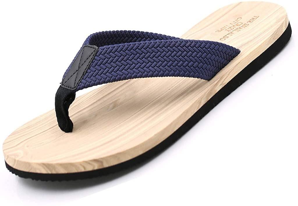 WXFF Summer Flip-Flops Simple Beach Sandals Daily Leisure Non-Slip Wear-Resistant Sandals Men's Flip Flops (Color : Beige, Size : 42)