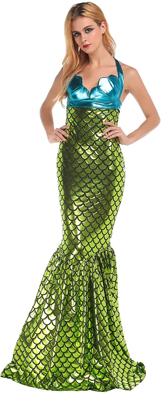 HUALUO Women Halloween Sexy Green Mermaid Costumes Adult Cosplay Mermaid Costume
