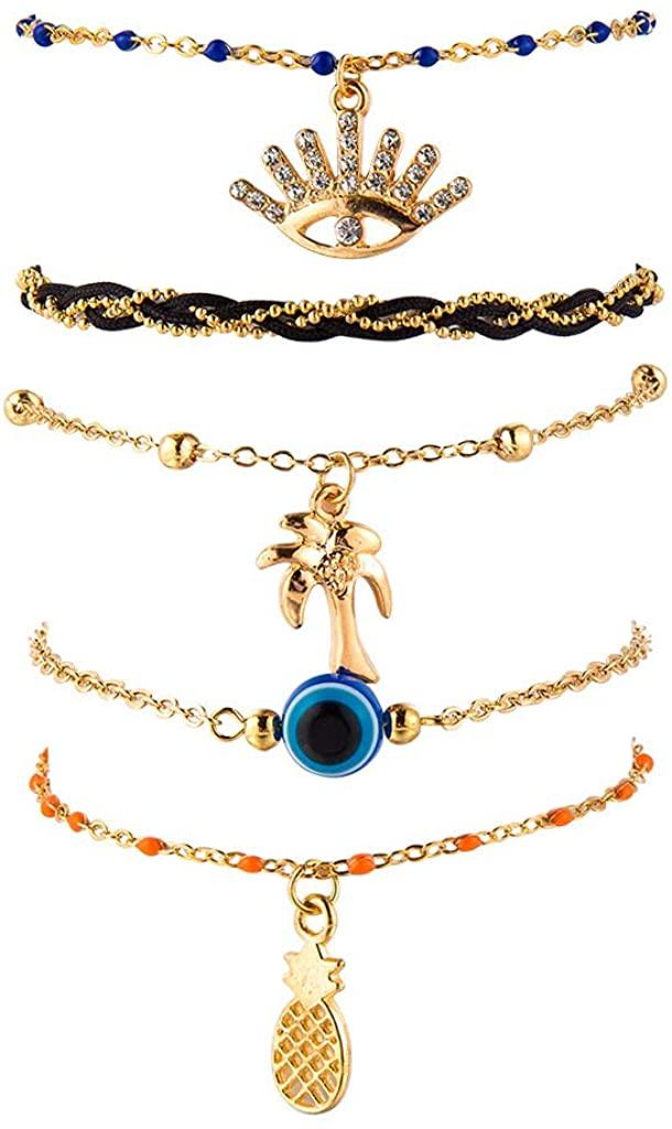 5-6 Pcs Unique Multilayer Evil Eye Pendant Anklet Bohemia Beads Pineapple Ankle Bracelet Summmer Beach Sandal Foot Chain Jewelry