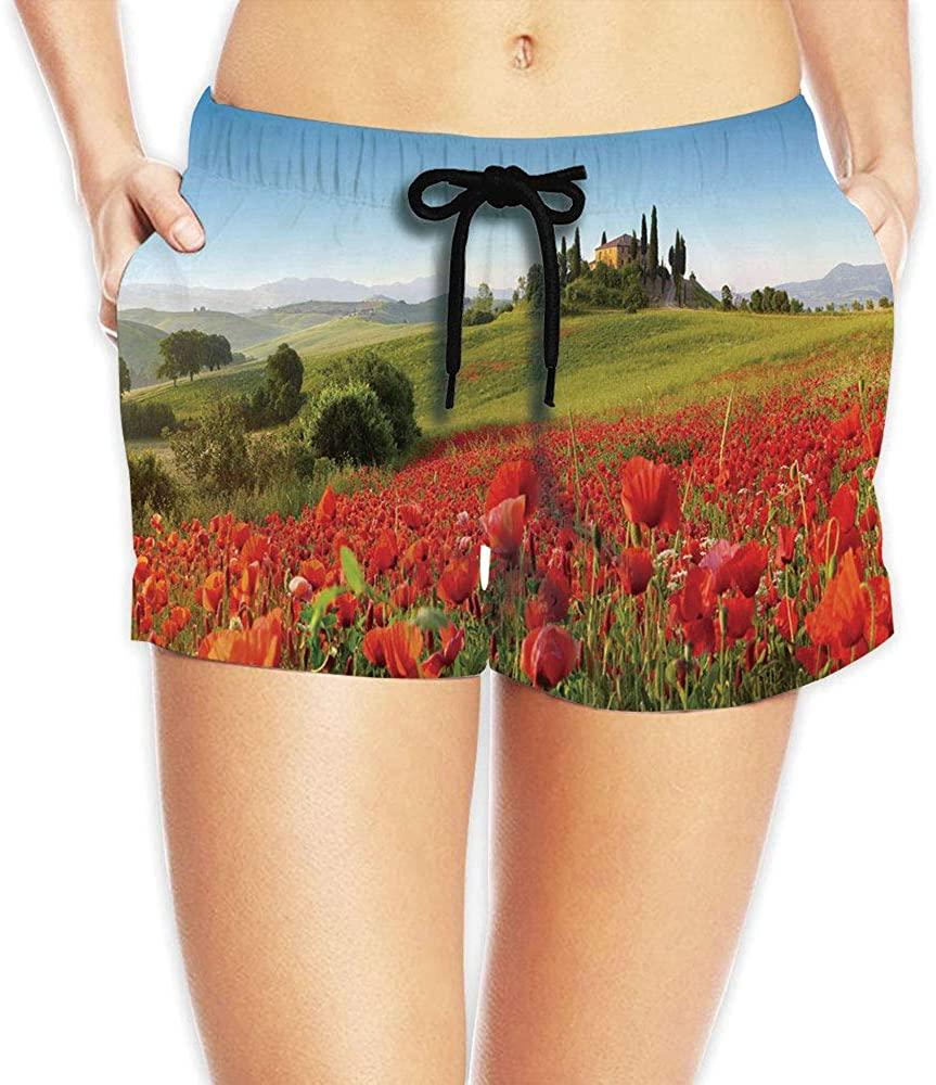 Women's Flower House Decor,Detailed Print Summer Beach Shorts No-68555