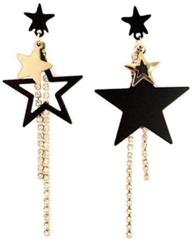 2020 Korean Fashion Simple Asymmetric Pentagonal Star Geometric Dangle Earring Long Anti-Allergy Crystal Luxury Drop Earrings
