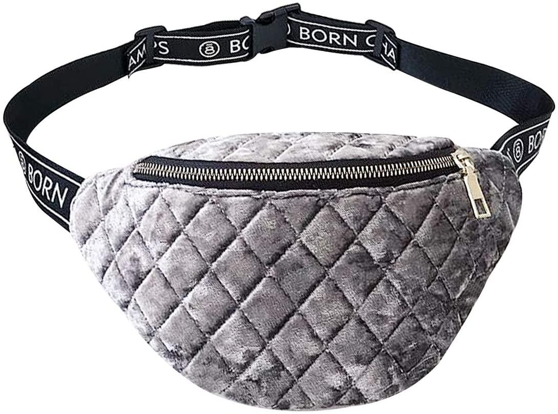 Buddy Women Velvet Lattice Waist Bag Soft Fanny Pack Bum Bag Retro Chest Pack Phone Purse Grey