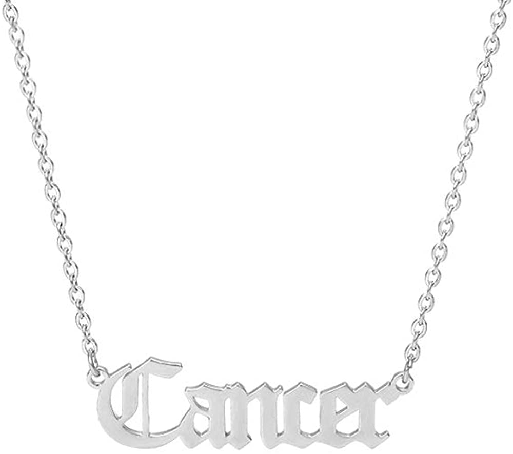 Crazy Feng Zodiac Necklaces Silver Old English Necklace Stainless Steel Zodiac Sign Constellation Necklace Astrology Jewelry Zodiac Jewelry Gift 14.2+2.75