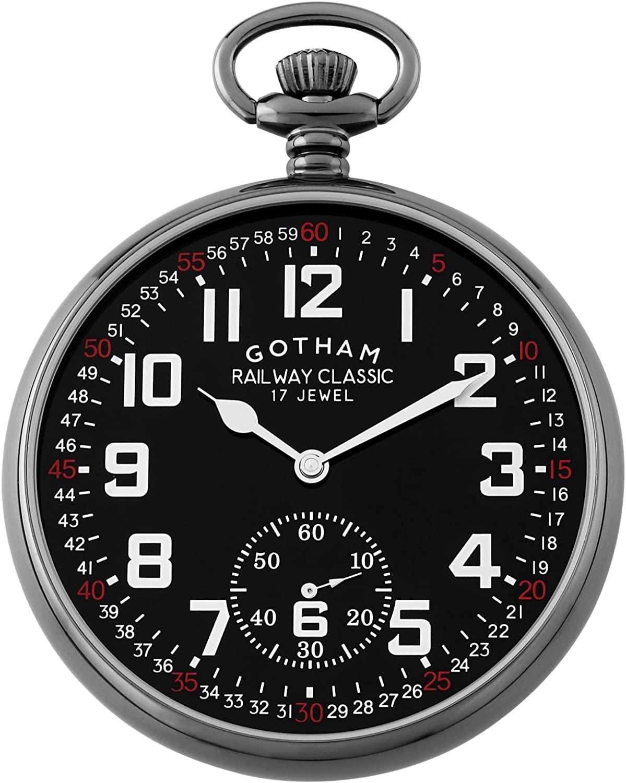 Gotham Men's Gun-Tone Mechanical Hand Wind Railroad Pocket Watch # GWC14103BBK