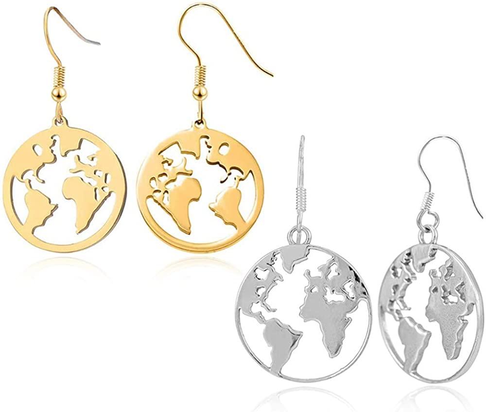 D.Rosse 2 Pairs Boho Ethnic Vintage Silver Africa Map Dangle Earrings Retro Gold Round Coin Disc World Earth Globe Map Hoop Earrings for Women Girls