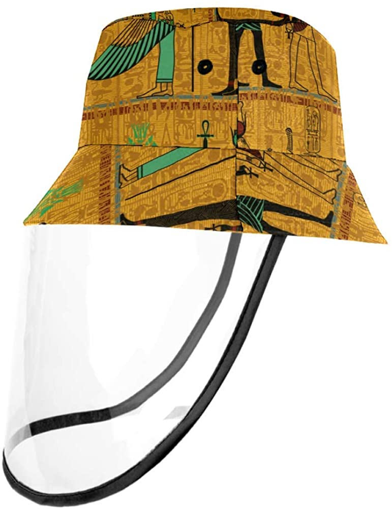Lyetny Ancient Egyptian Deities Gold with Hieroglyphs Outdoor Fisherman Hat Summer Beach Caps for Adults