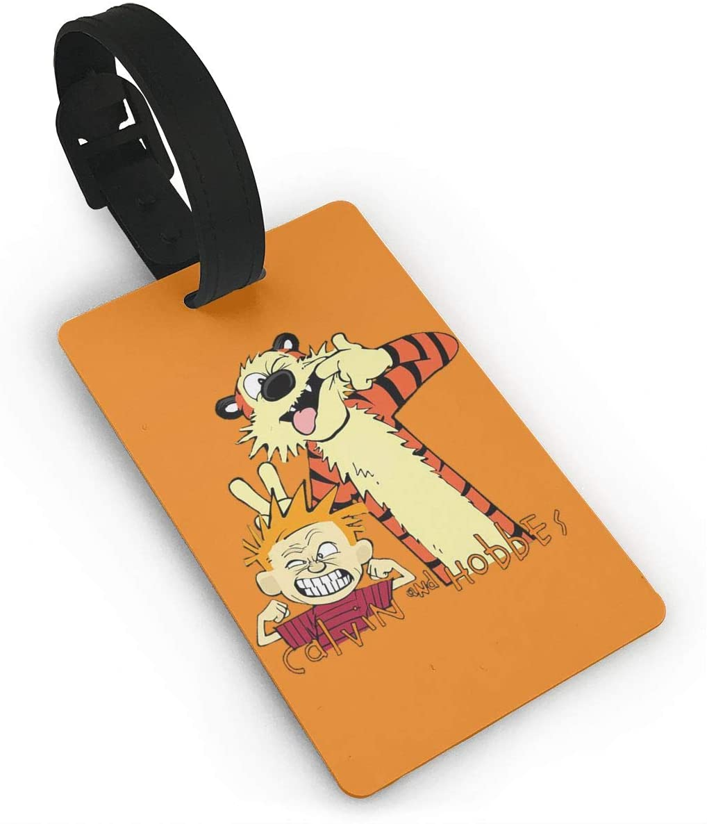 Pooizsdzzz Calvin and Hobbes Luggage Tags is PVC Material, Durable Very Suitable for Men and Women in Luggage