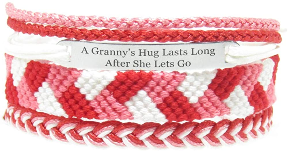 Miiras Family Engraved Handmade Bracelet - A Granny's Hug Lasts Long After She Lets Go - Red - Made of Embroidery Thread and Stainless Steel - Gift for Granddaughter