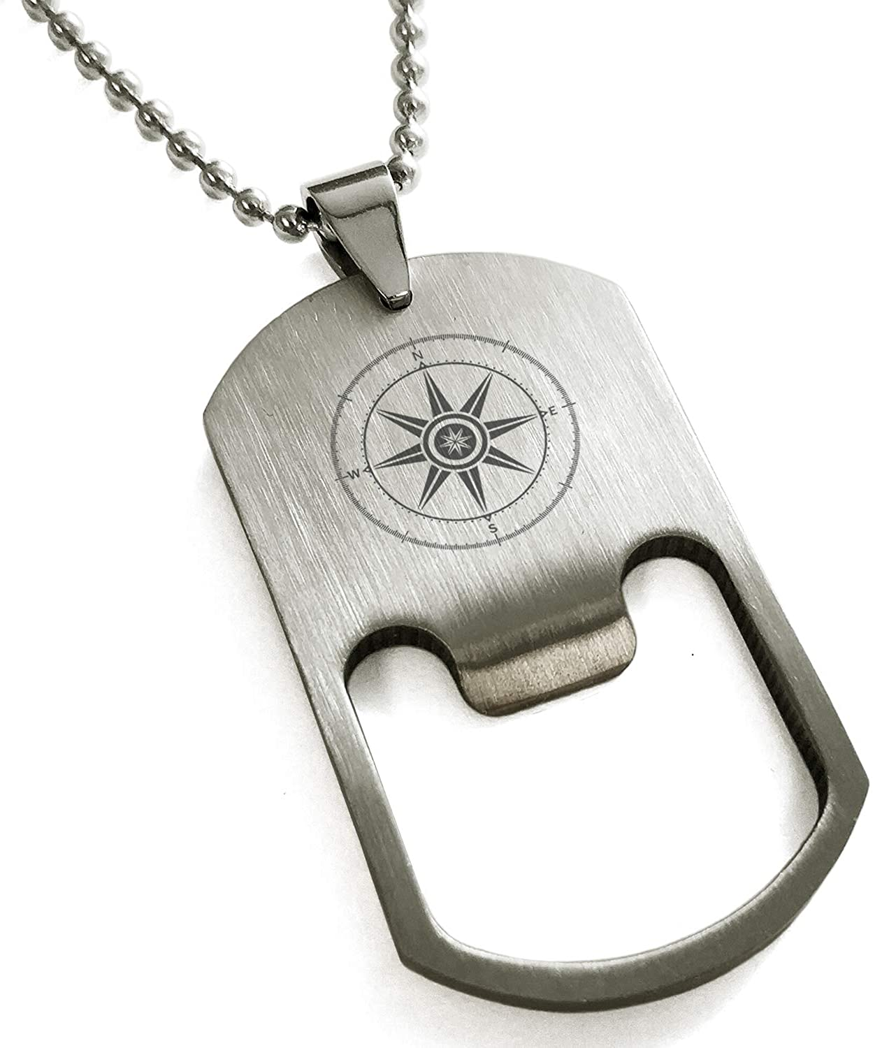 Tioneer Stainless Steel Nautical Wind Compass Bottle Opener Dog Tag Pendant Necklace