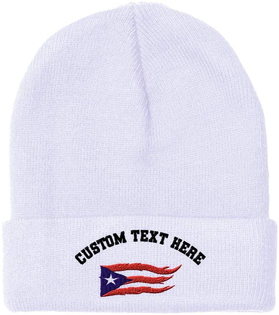 Custom Beanie for Men & Women Puerto Rico Flame Flag on Black Embroidery Acrylic