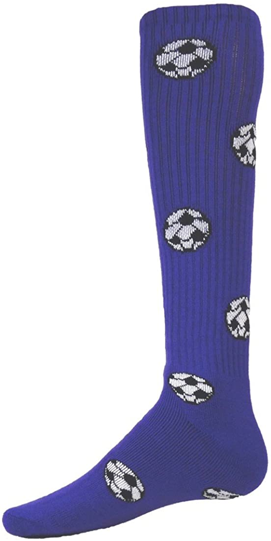 Red Lion Soccer Ball Knee-high Sock (Purple - Large)