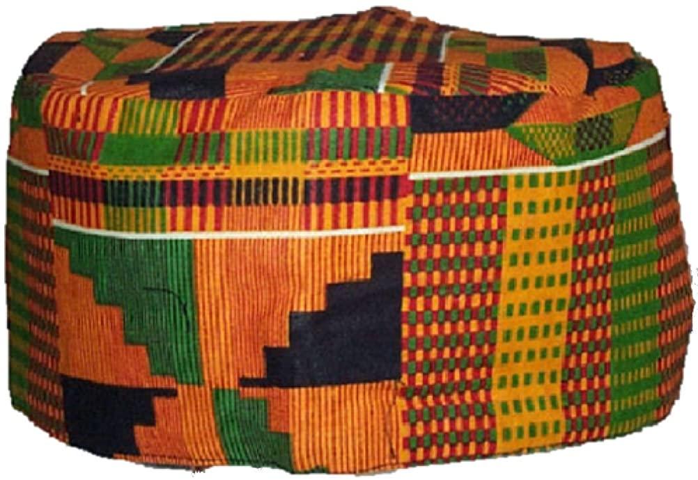 African Inspired Fashions Kente Pattern Kufi Kofi Hat Cap