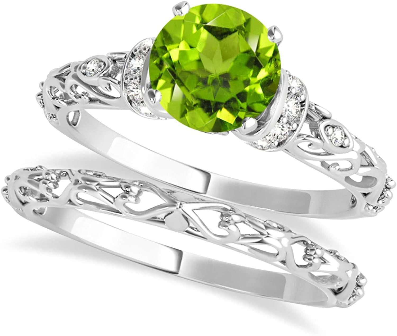 (1.62ct) Platinum Peridot and Diamond Antique-Style Bridal Set