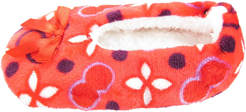 J.Ann-Girl Cozy Fleece Sherpa lined Slipper Sock, non Slip Bottom, 15cm, Red