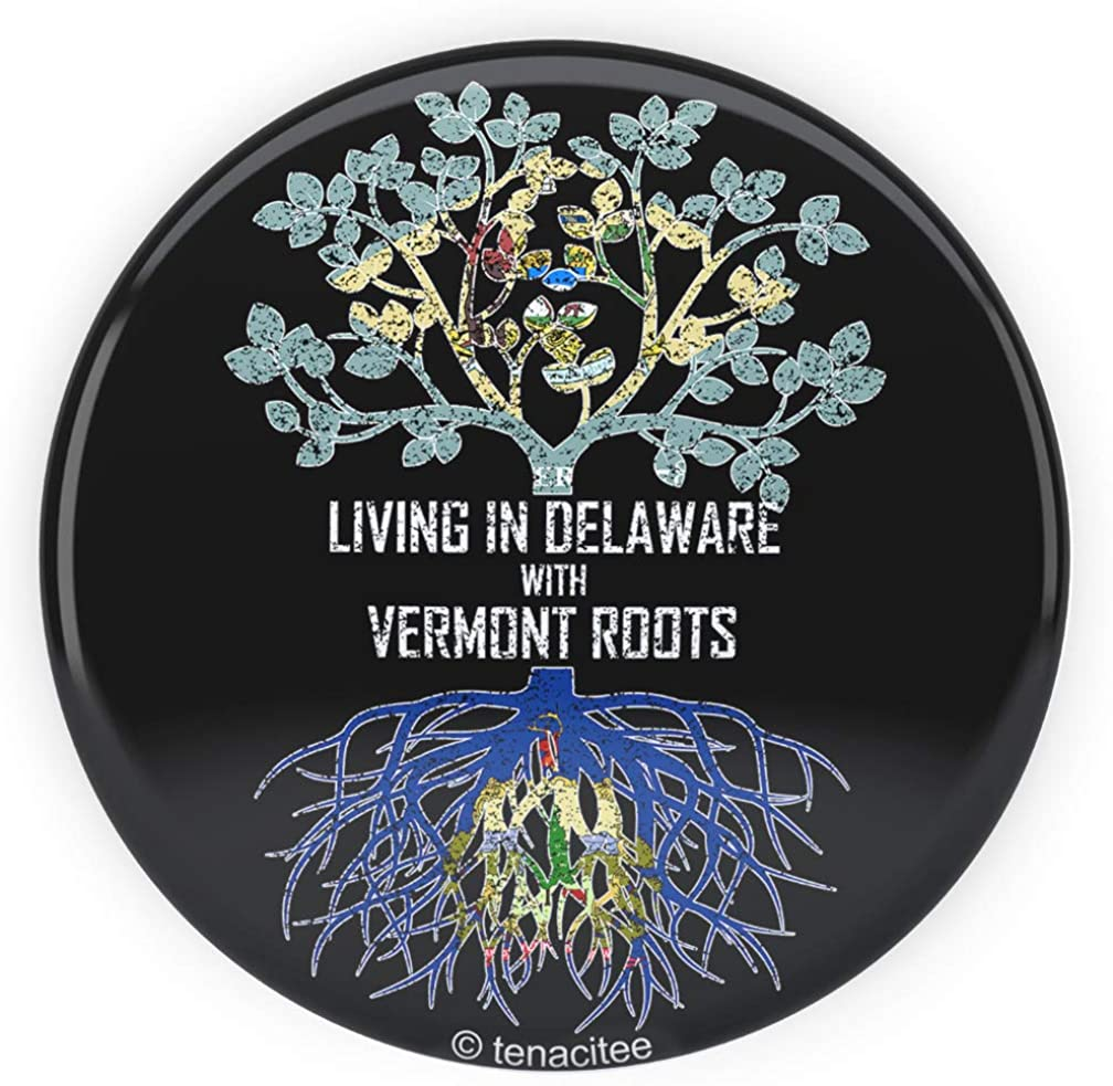 Tenacitee Living In Delaware with Vermont Roots Pinback Button