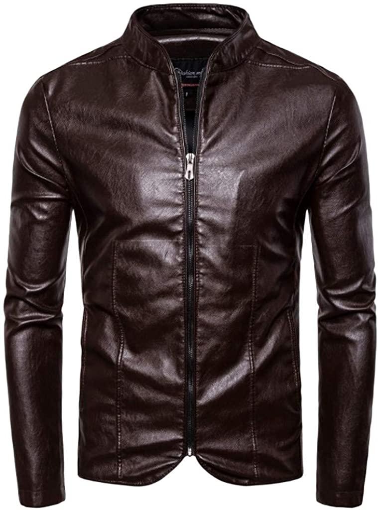 Men's Smooth Faux Leather Unfilled Vintage Stand Collar Biker Bomber Jacket