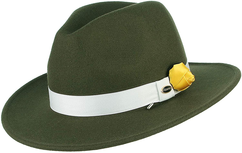GEMVIE Men Retro Style Panama Hat Wool Wide Brim Manhattan Fedora Pork Pie Hat Trilby Jazz Hat