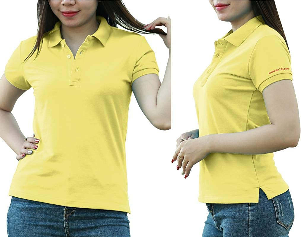 Add Your Logo Text Design Image Picture. Custom Polo. Personalized Polo. Printed On Polo & T-Shirt Uniform with Multi Sides. International Pack of 10 Light Yellow