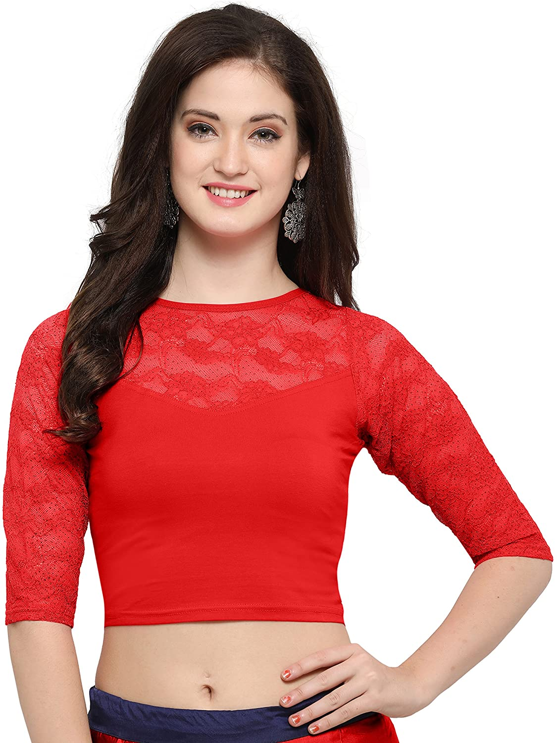 Janasya Indian Tunic Tops Readymade Cotton Lycra Saree Blouse for Women (BL020-71RED)