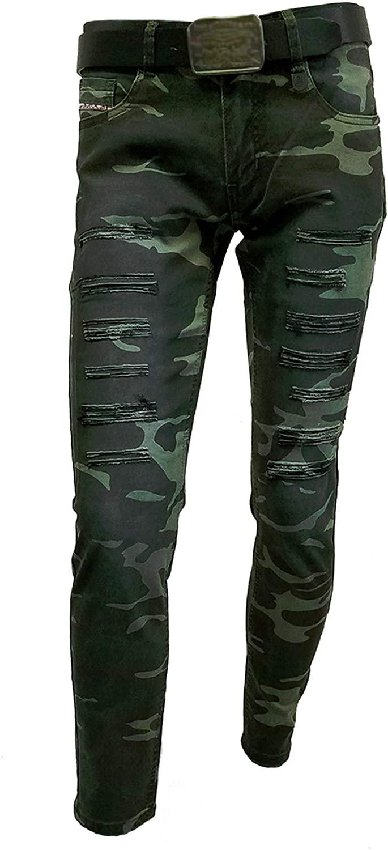 Chopp Shop Jeans - Men's Skinny Stretch Military Army Ripped Denim Jeans