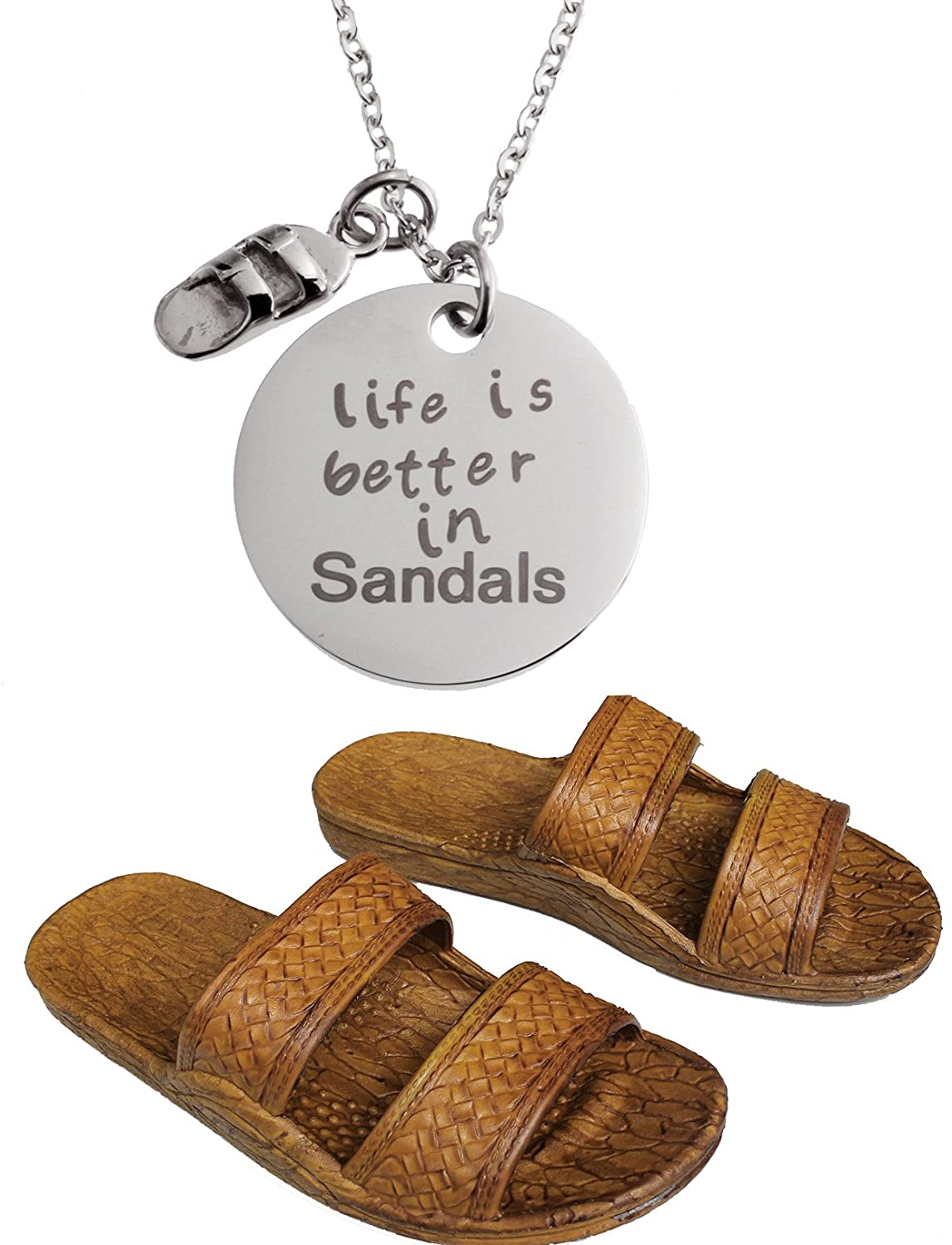 Brown Jesus Style Sandals - with 1 Stainless Steel Life is Better in Sandals Pendant Necklace Bundle - 2 Items