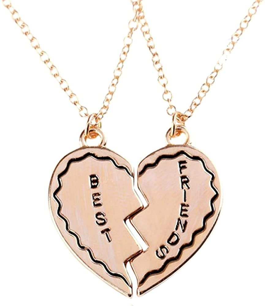 JY Jewelry 1pair Gold-plated Best Friends Broken Heart Pendant Necklace