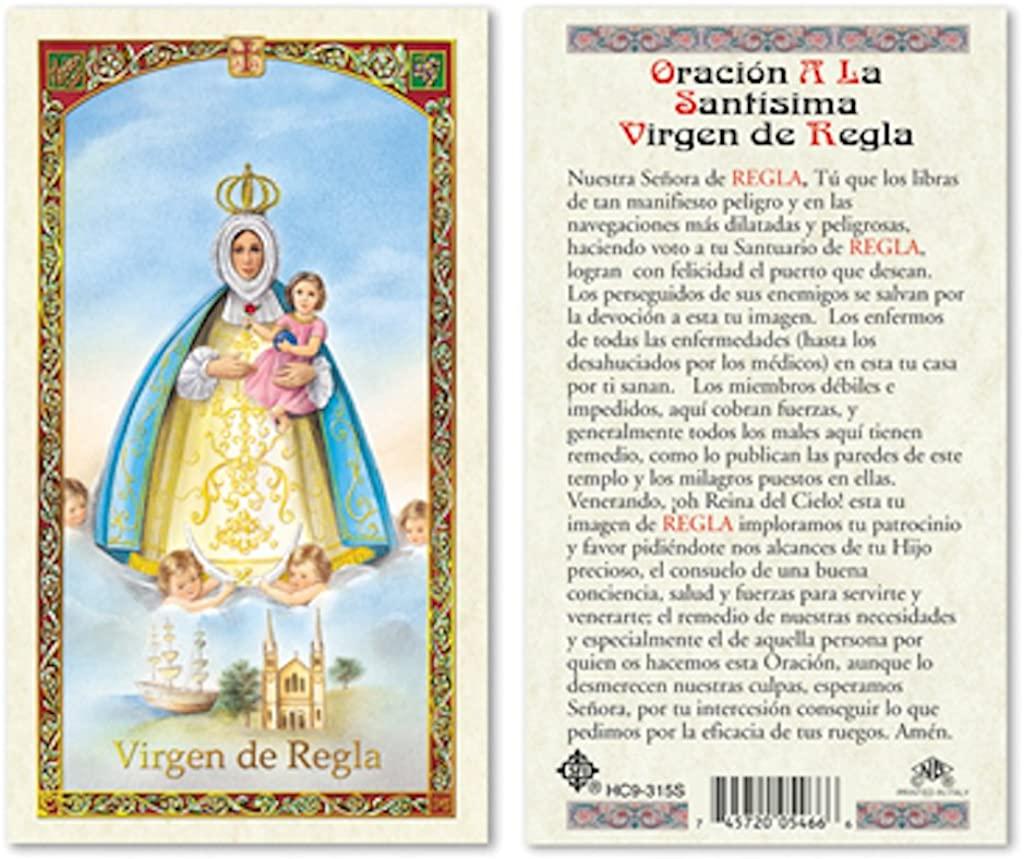 SPANISH VIRGEN DE REGLA LAMINATED PRAYER CARDS - 25/PKG