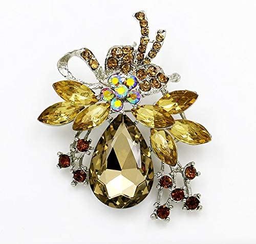 Harva Brooches - Factory Direct Sale Crystal Diamante and Red Blue Clear Acrylic Stones Bow Brooch Pins in Assorted Color - (Metal Color: 019coffee)