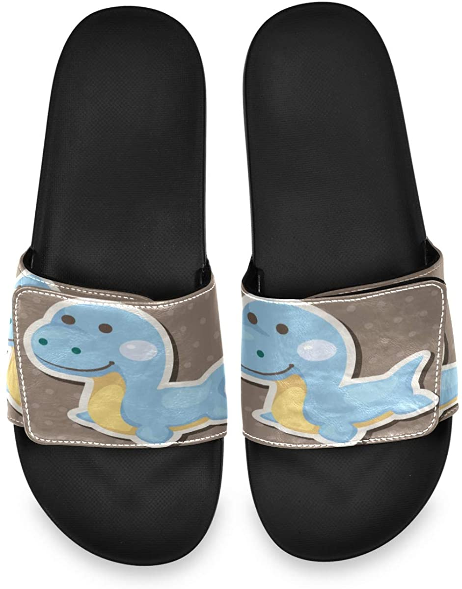 All agree Blue Dinosaur Cartoon Coffee Brown Beautiful Cute Mens Summer House Slippers Slide Open Toe Slip On Wide Sandals Boys